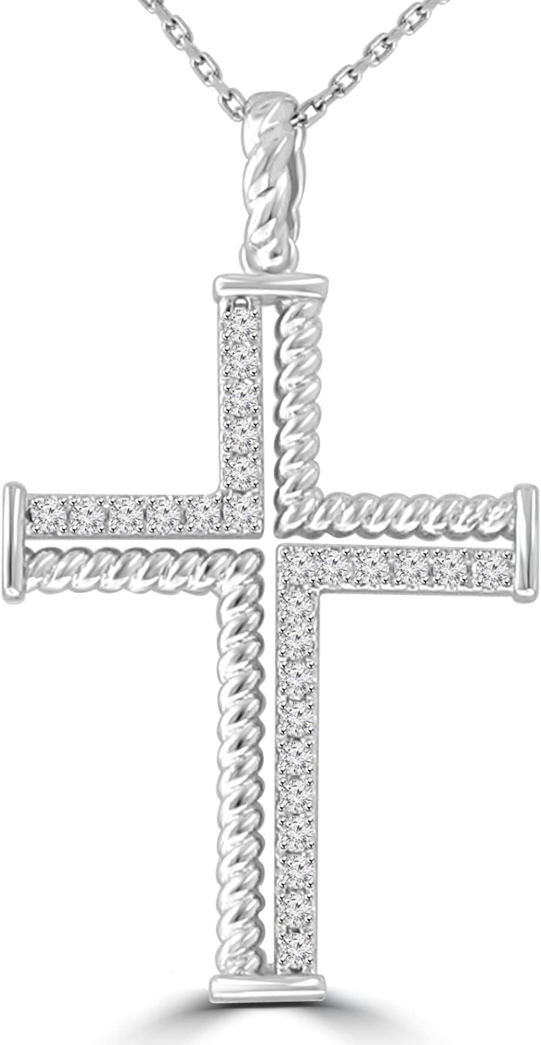Madina Jewelry 0.37 ct Ladies Round Cut Diamond Cross Pendant Necklace (G Color SI-1 Clarity) in 14 kt White Gold