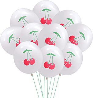Toyvian 10pcs 12inch Cherry Pattern Latex Balloons Home Decor for Party Birthday Festival