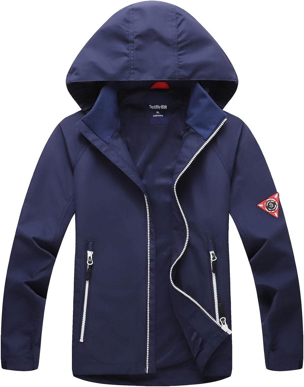 WYTbaby Kids Waterproof Jacket Hooded Rain Jacket Girls Boys Outerwear Lined Windbreaker