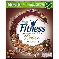Cereales NESTLÉ Fitness Delice - Cereales de trigo, maíz y arroz tostados con cacao rellenos de crema con chocolate - Paquete de cereales de 350g