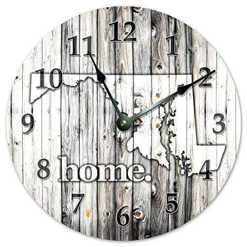 """MARYLAND STATE HOME CLOCK Huge 15.5"""" to 16"""" Wall Clock Black and White Rustic Clock"""