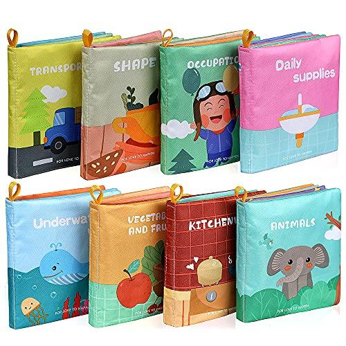 Lictin Libros Blandos para Bebé-8 Piezas Libros de Tela para Bebé Impermeable Sobre Aprendizaje y Educativo para Bebé con Certificación CE
