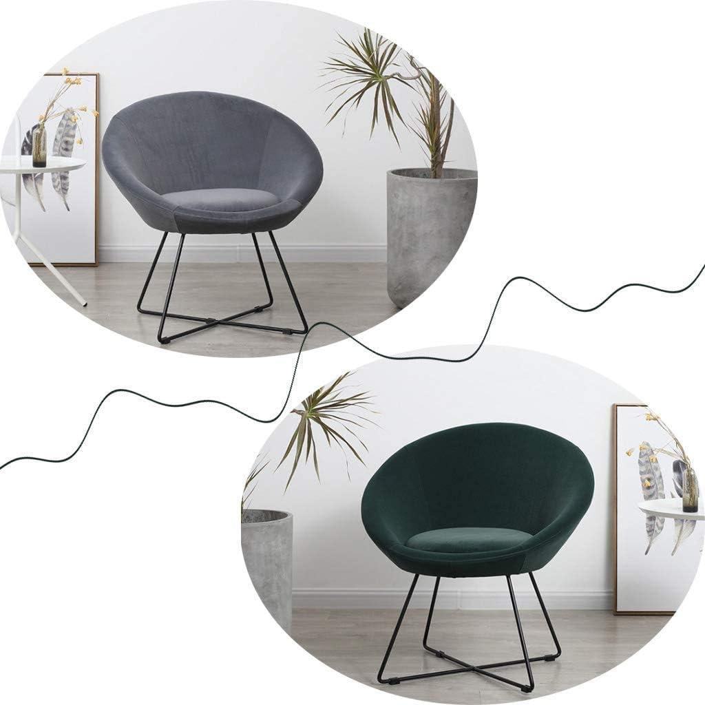 GSN Chaise longue rembourré for le salon, salle à manger Chaise en fer forgé, élégant café chaise, Coussin amovible, avec Slip-Mat Non fauteuils (Color : Light Gray) Green