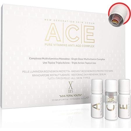 SIERO Viso   X115® ACE   VITAMINE PURE Mono-Concentrate   Siero Vitamina C + Siero Vitamina A - Retinolo + Siero Vitamina E ▶ ANTIRUGHE - Antimacchie   Illuminante