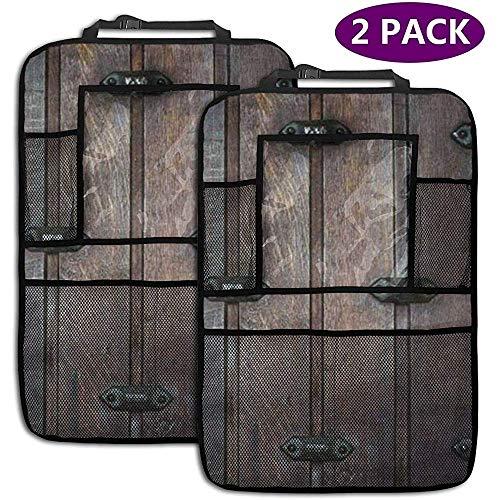 XZfly oude houten deur rustieke planken schuur achterbank auto organizer auto rug stoel beschermer schop matten voor kinderen opslag zakken 2 Pack