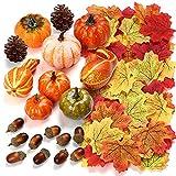 Herbst Deko Set, Kesote 120 PCS Kürbis Künstlich Ahornblatt Thanksgiving Tischdeko Erntedankfest Halloween Dekoration Tannenzapfen Eicheln