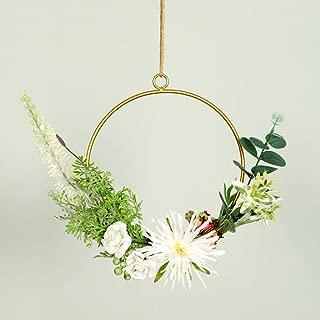 m·kvfa Iron Flower Basket Artificial Flowers Wall Hanging Basket Rack Home Garden Decor for DIY Wedding Centerpieces Arrangements Party Baby Shower Decorations (C)