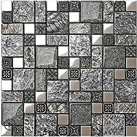 高級感 ガラスレジンmix! レジンモザイクタイル インテリアタイル クラシック壁のアート 1シート(300*300*8mm)壁、浴室・カウンター キッチン・台所・洗面台 のDIYリフォームにお勧め(LSRN08)  (1シート(300*300*8mm))