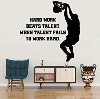Stickers muraux mode décoration murale autocollants joueurs de basket-ball travail dur papier peint chambre d'enfants acce...