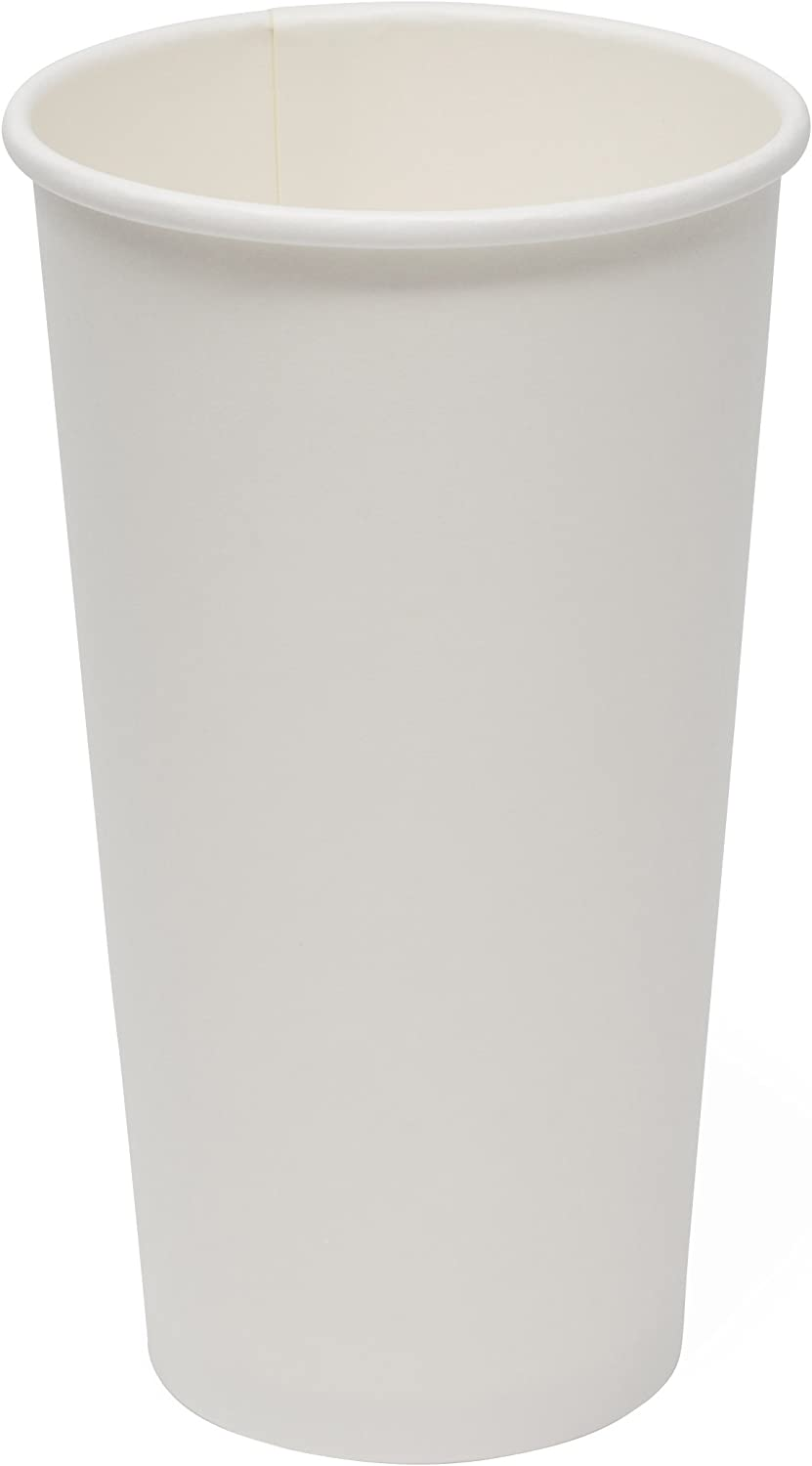 Simply Deliver 20 oz Paper Hot Cup, Single-Wall, Poly-Coated, White, 1000-Count