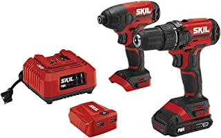 SKIL 3-Tool Combo Kit: 20V Cordless Drill Driver, Impact Driver and PWRAssist USB Charging Adaptor, Includes 2.0Ah Lithium Battery and Charger - CB739101