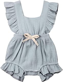 Infant Newborn Baby Ruffles Romper One-Piece Sleeveless Bowknot Outfit Cute Bodysuit Jumpsuit Sunsuit,0-24 Months (18-24 Months, Light Grey Baby one-Piece Romper)