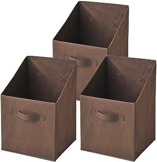 [山善] 収納ボックス 縦型 カラーボックス対応 幅25×奥行25×高さ38cm 完成品 ブラウン 3個組 YTCF-3PT(BR)