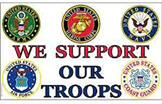 FindingKing We Support Our Troops Flag with Grommets 3ft x 5ft