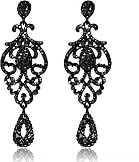 Nicircle ファッションエレガントレトロアドバンスブラックウォータードロップ中空ダイヤモンドレディースイヤリング Fashion Elegant Retro Advanced Black Water Drop Hollow Diamond Ladies Earrings