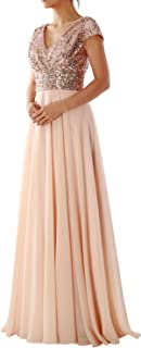 Cap Sleeve V Neck Long Evening Gown Sequin Mother of The Bride Dress