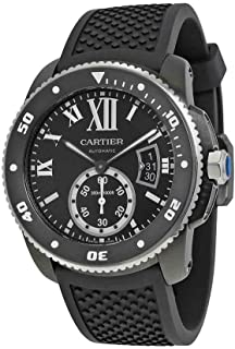 1ce14eff8c2 Cartier Calibre de Cartier Diver Automatic Black Dial Black Rubber Divers Mens  Watch WSCA0006
