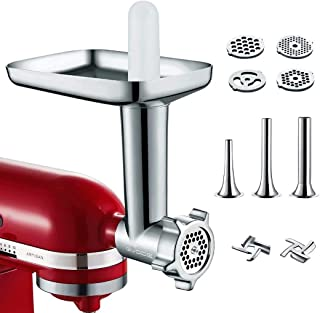 Metal Food Grinder Attachment for KitchenAid Stand Mixer Included 3 Sausage Stuffer Tubes Accessory, Upgrade Design with H...