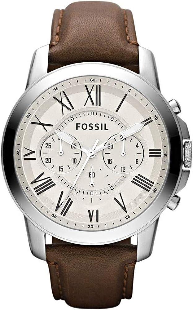 Fossil orologio, cronografo per uomo,in acciaio e cinturino in vera pelle FS4735IE