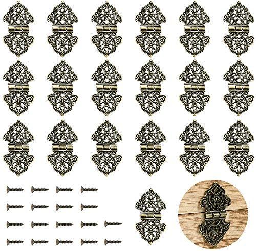 20 Stück Antike Dekorative Scharniere Bronze Gravur Design Box Scharniere Schmuckschatulle Hardware für alte Holzkästen,Schränke, Geschenkboxen, Werkzeugkasten, Schmuckschatullen, Weinkisten (Bronze)
