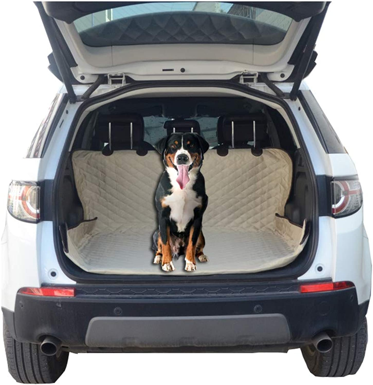 Cargo Liner Dog Seat Cover Car SUV,Pets Predection Hammock Cover Waterproof Scratch Proof Nonslip Backing Durable Backseat with Side Flaps for Car SUV Truck,Bumper Flap,Khaki