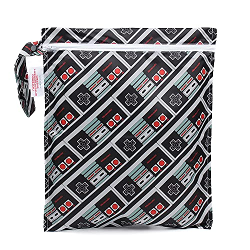 Bumkins Waterproof Wet Bag, Nintendo Washable, Reusable for Travel, Beach, Pool, Stroller, Diapers, Dirty Gym Clothes, Swimsuits, Toiletries, 12x14