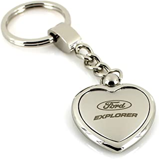 Ford Explorer Satin/Chrome Two Tone Heart Shape Keychain