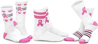 TeeHee Women Pink Ribbon Breast Cancer Awareness Cotton Crew Socks 3-Pair Pack
