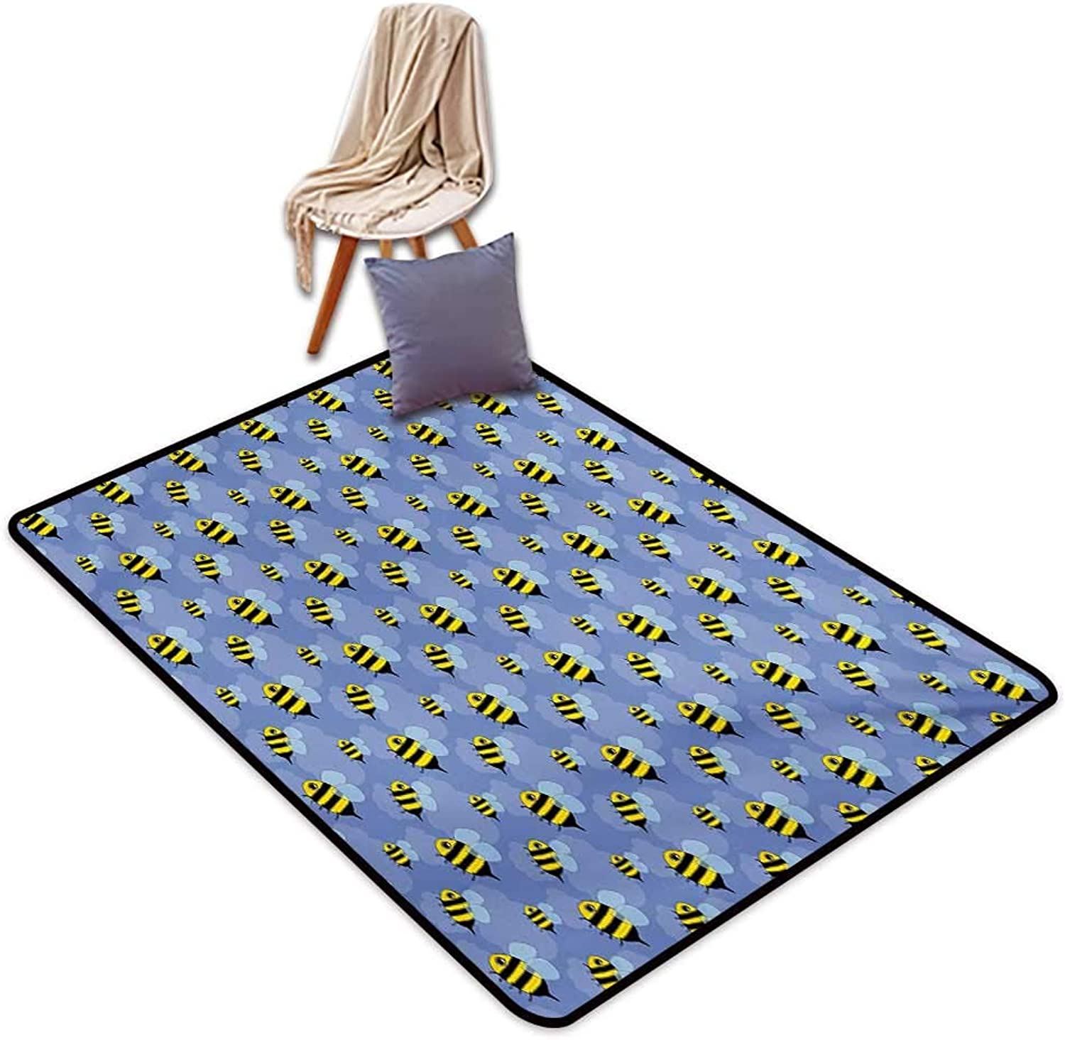 Bees Large Outdoor Indoor Rubber Doormat Spring Avian Bugs Insects Flying Among The Clouds Cartoon Design Water Absorption, Anti-Skid and Oil Proof 48  Wx59 L purple bluee Yellow and Black