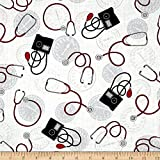 Windham Quilt Fabrics Calling All Nurses Blood Pressure White Quilt Fabric By The Yard, White