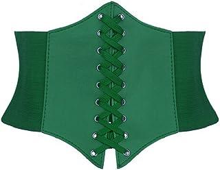 Alivila.Y Fashion Corset Women's Faux Leather Underbust Waist Belt Corset A13-Green