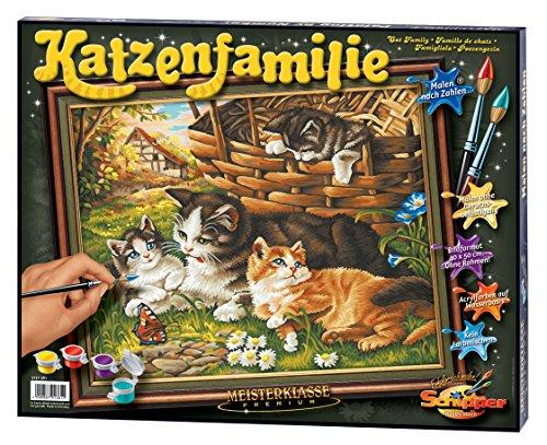 Schipper 609130361 - Malen nach Zahlen - Katzenfamilie - Bilder malen für Erwachsene, inklusive Pinsel und Acrylfarben, 40 x 50 cm