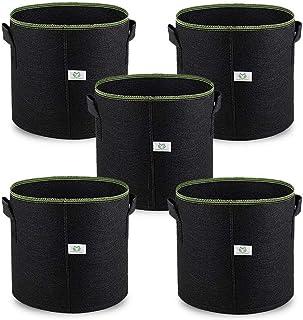 5 Pack 10 Gallon Fabric Pots With Handles, Plant Smart Grow Bags Portable Garden Planter Heavy Duty Aeration Nonwoven Plan...