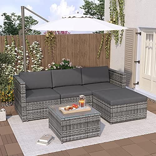 QWEPOI Rattan Garden Furniture Sets, Outdoor Patio Corner Sofa Set, 5 PCS Lounge Set, Anti-UV Rattan Weaving, Washable Fire-resistant Soft Cushions, Thicked Glass Tabletop, Grey