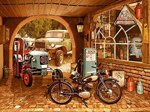 Artland Qualitätsbilder I Wandtattoo Wandsticker Wandaufkleber 60x45 cm Fahrzeuge Traktoren Digitale Kunst Braun D9SV Nostalgie-Werkstatt mit Traktor und Motorrad