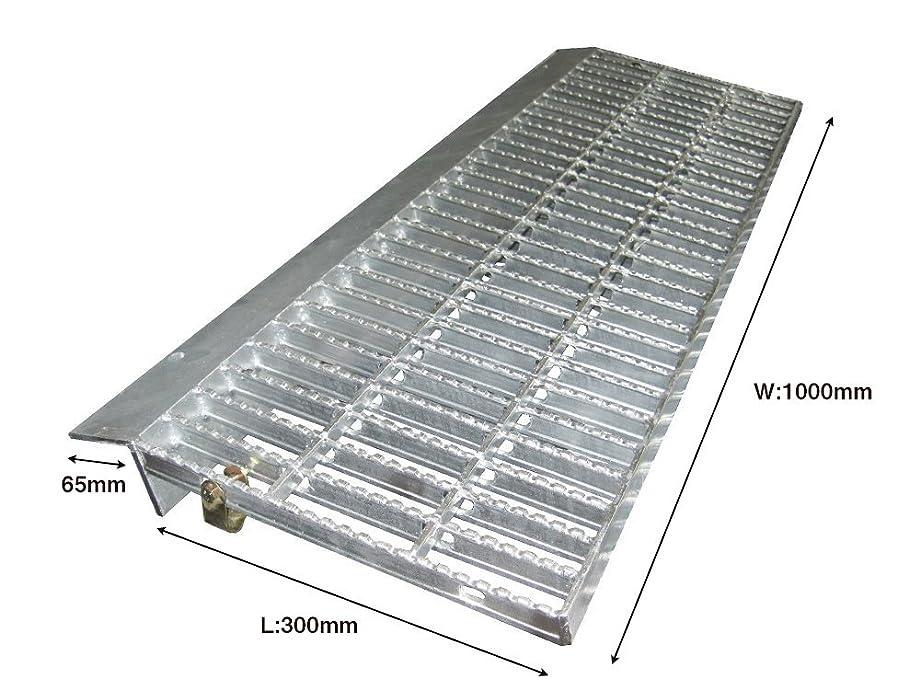 分類するブロッサム神経衰弱乗用車用(2t荷重) ノンスリップ型歩道上りグレーチング 適用段差100~120mm 鋼板製?融解亜鉛メッキ仕上げ (長さ1000mm)