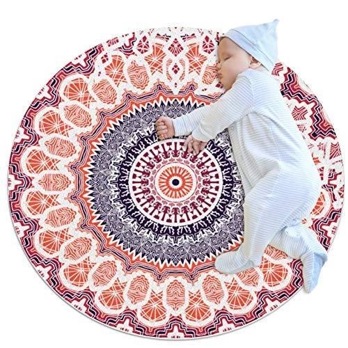 AIBILI Alfombra redonda de mandala, lavable a máquina, para interior, exterior, para dormitorio, sala de estar, niños, sala de juegos, 70 x 70 cm