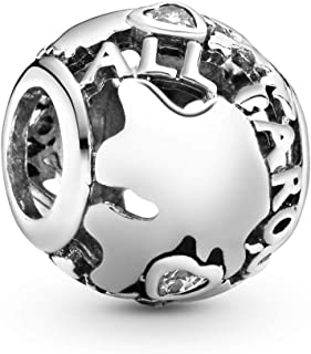 Jewelry - Around the World Openwork Charm in Sterling Silver with Clear Cubic Zirconia