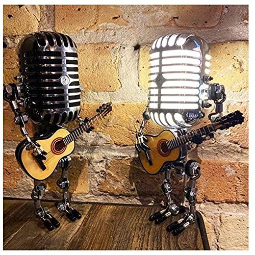 2021 - Lampada da tavolo con microfono vintage robot USB, lampada da tavolo, lampada da tavolo robot, lampada da tavolo vintage per comodino, soggiorno, cucina, bar, bar, pub, (lampadina non inclusa)