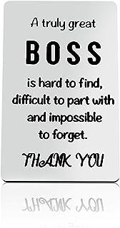 """بطاقة محفظة عليها عبارة """"Boss Thank You"""" محفورة لرئيد المعمل ورئيس عظيم، من الصعب العثور على الرئيس، هدايا للتقاعد وهدايا ..."""