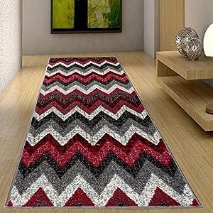 Tapiso Jawa Alfombra de Pasillo Entrada Cocina Escalera Diseño Moderno Rojo Gris Negro Suave Frise a Medida 80 x 410 cm