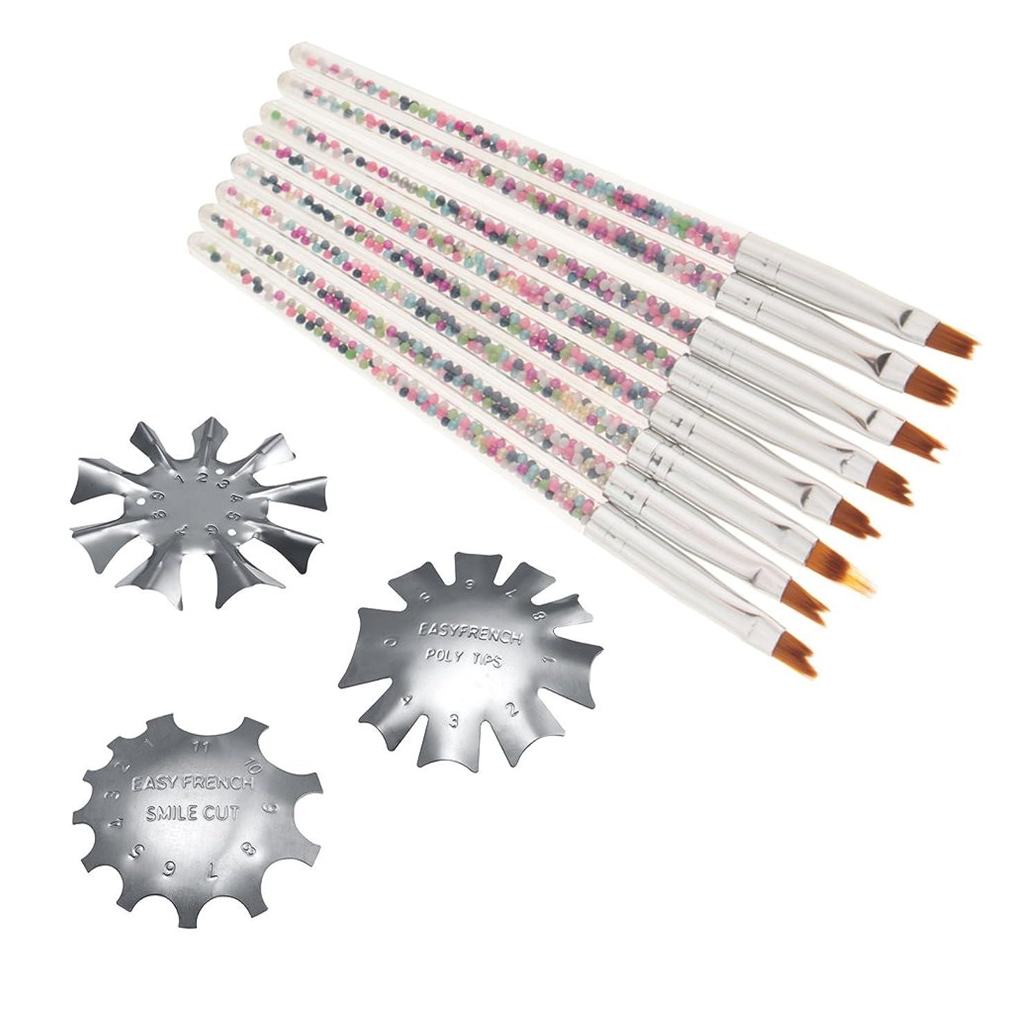 悪性コピーメトロポリタンKesoto 3サイズ フランスネイル ネイルガイド  8個 ネイルブラシ ネイルアート ブラシ カットラインガイドテンプレート ネイルサロン 個人用