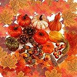 YANGTE - Juego de 96 calabazas artificiales para Halloween, diseño de calabazas, piñones de pino, hojas de arce, granada, para otoño de Acción de Gracias, boda, Halloween, Navidad