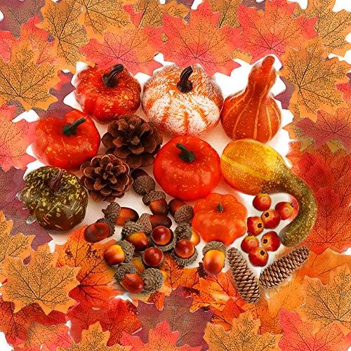 YANGTE Halloween konstgjorda pumpor dekoration, mini höst skörd falska pumpor kottar lönnlöv ekollon granatäpple blandade set, för höst tacksägelse, bröllop, halloween, jul