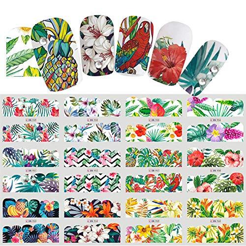 Ogquaton Premium Quality 1 Feuille Nail Art Autocollant Feuille De Monstera Fleur Conception Transfert de Eau Nail Art Autocollants Manucure Stickers