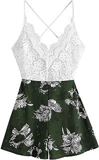 ZAFUL Conjunto de top de tirantes y pantalones cortos de encaje con estampado floral para mujer