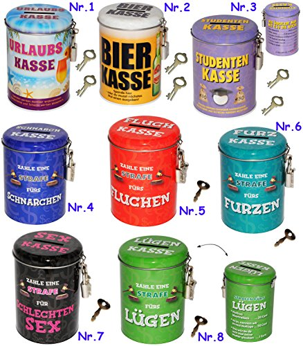 alles-meine.de GmbH Spardose als Strafkasse -  Furz Kasse  - stabile Sparbüchse aus Metall - incl. 2 Schlüssel - mit Strafe Furzen Furzer - Männer / stinken riechen - Schlafen ..