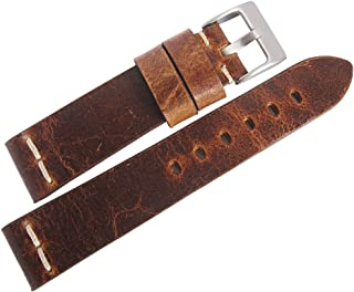 ColaReb Italy 22mm Roma Rust Brown Distressed Leather Watch Strap