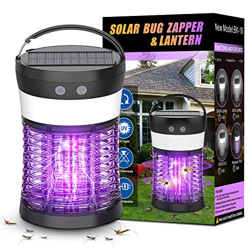Bug Zapper for Outdoor and Indoor, Electric Mosquito Zappers Killer - Insect Fly Trap,Waterproof Powered Mosquito Lamp with 3 Lighting Modes,USB Type C Solar Charging for Home,Hiking,Backyard,Patio