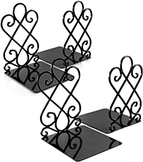 Bookends, Decorative Book Ends Metal Heavy Duty Book Support for Shelves Non-Skid for Office Desk School Library Organizer...